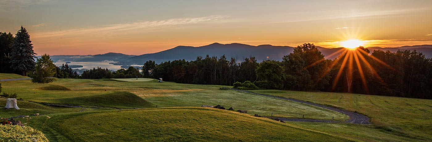 Sunset view over the Adirondacks at Top of the World Golf Resort